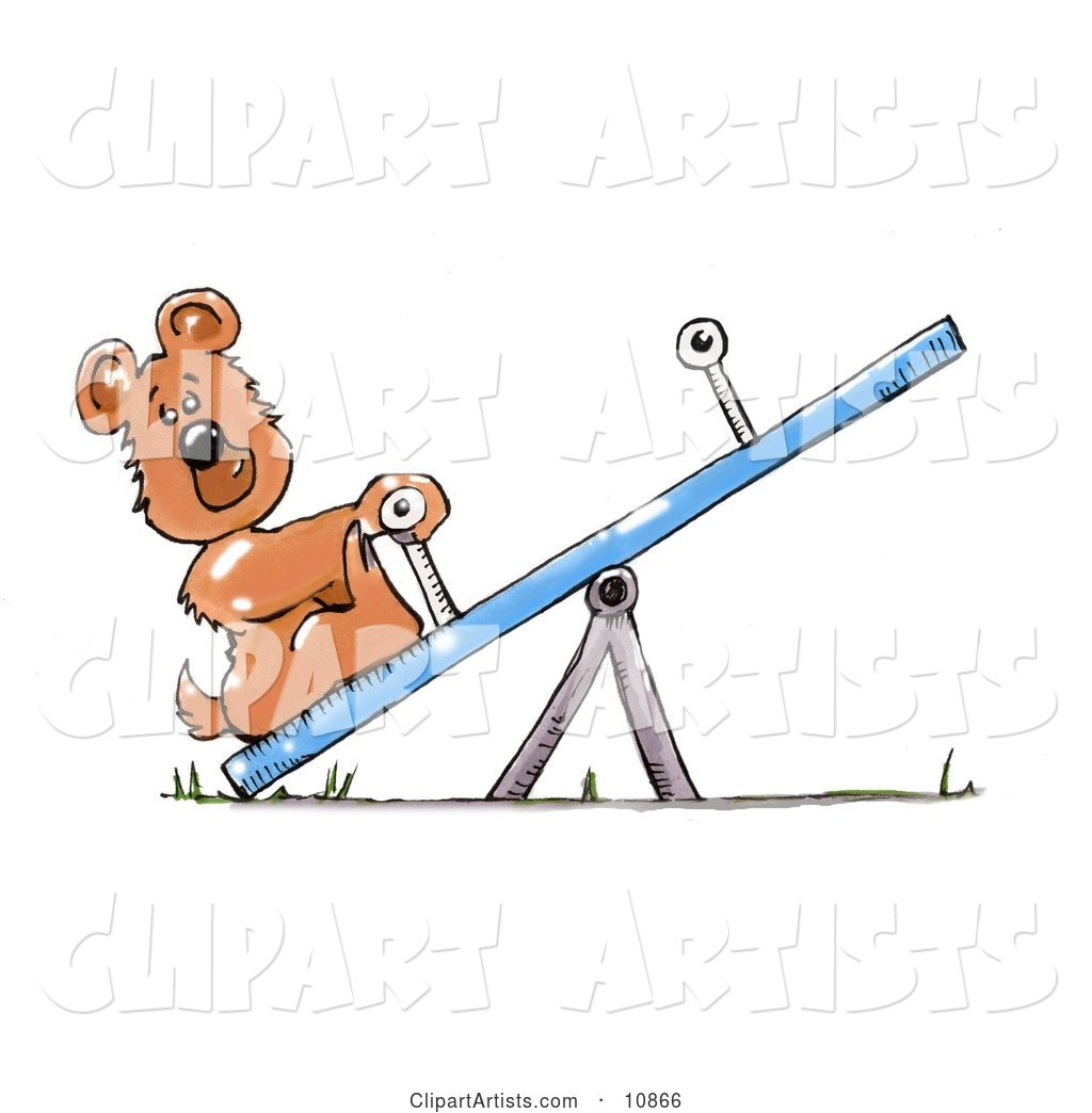 Lonely Little Bear Cub on a Seesaw Teeter Totter on a Playground, Waiting for Someone to Play with