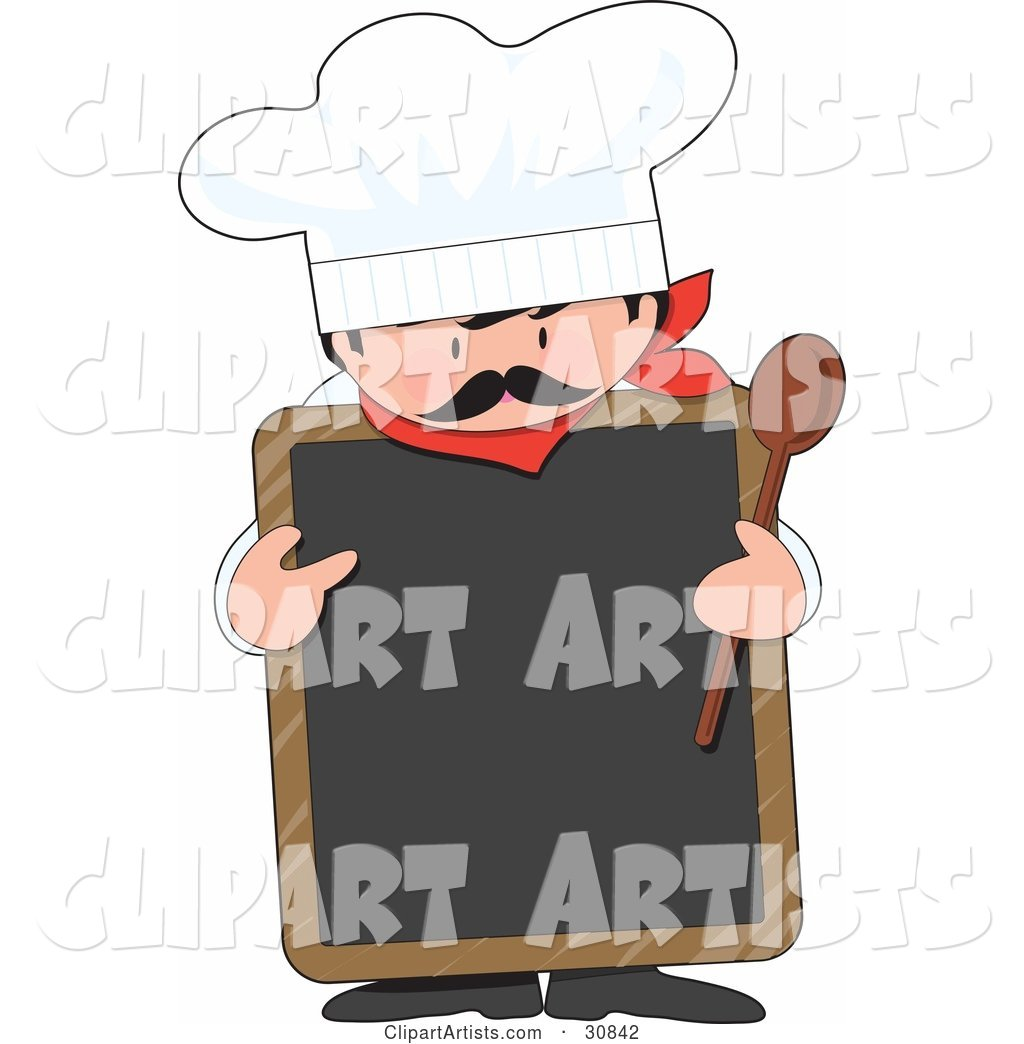 Male Chef with a Mustache, Wearing a Hat and Holding a Wood Spoon While Pointing to a Blank White Chalkboard