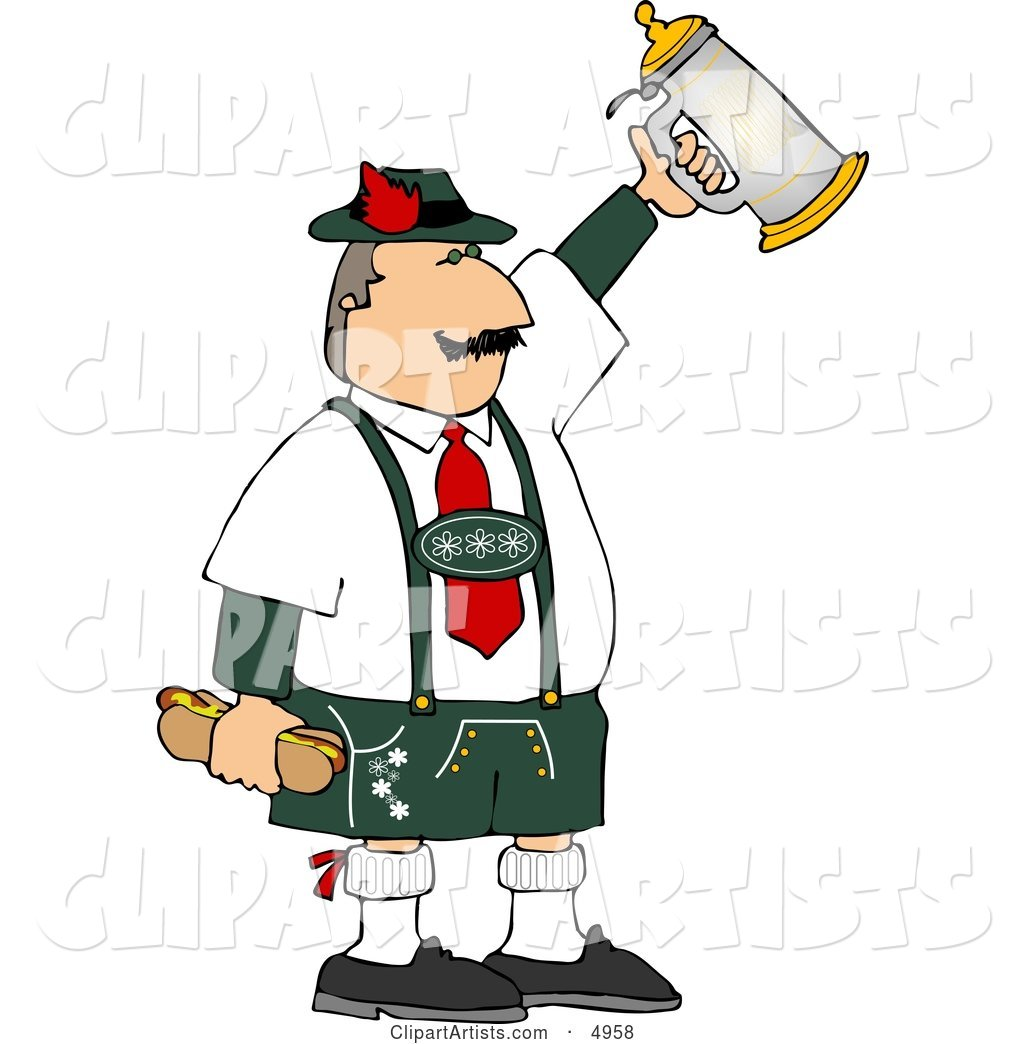 Man Celebrating Oktoberfest with a Beer Stein and Hot Dogs