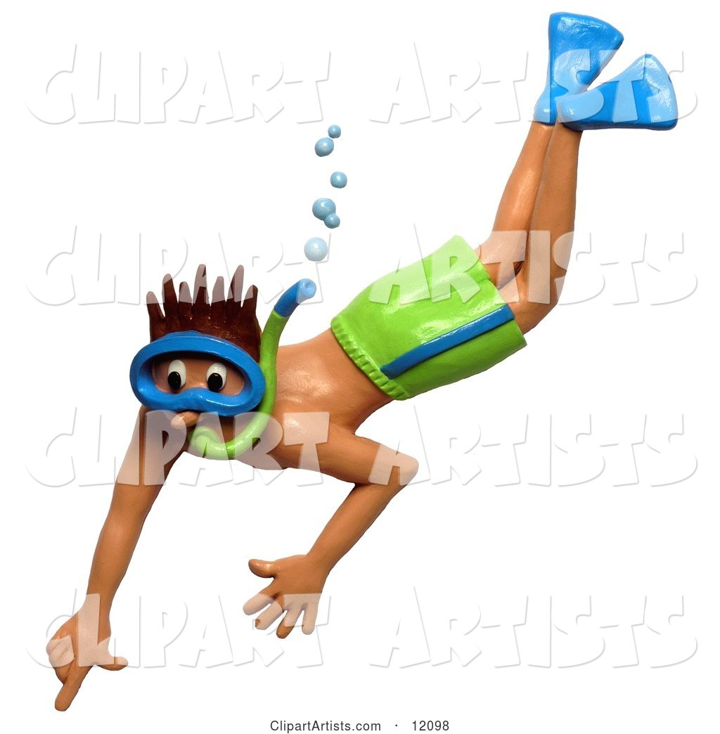 Man Snorkeling in Green Shorts Pointing