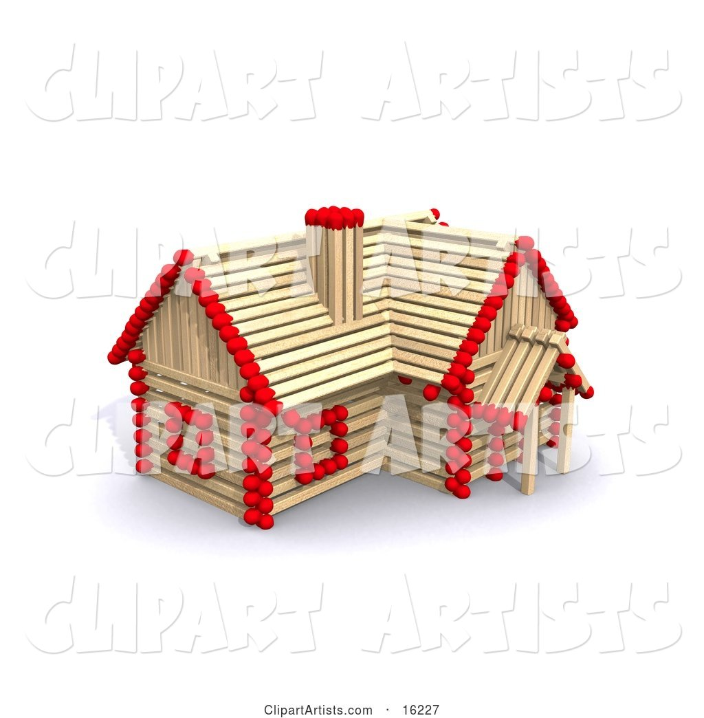 Matchstick Home with Red Tips, Symbolizing a Stick Built House, Foreclosure, and Insurance