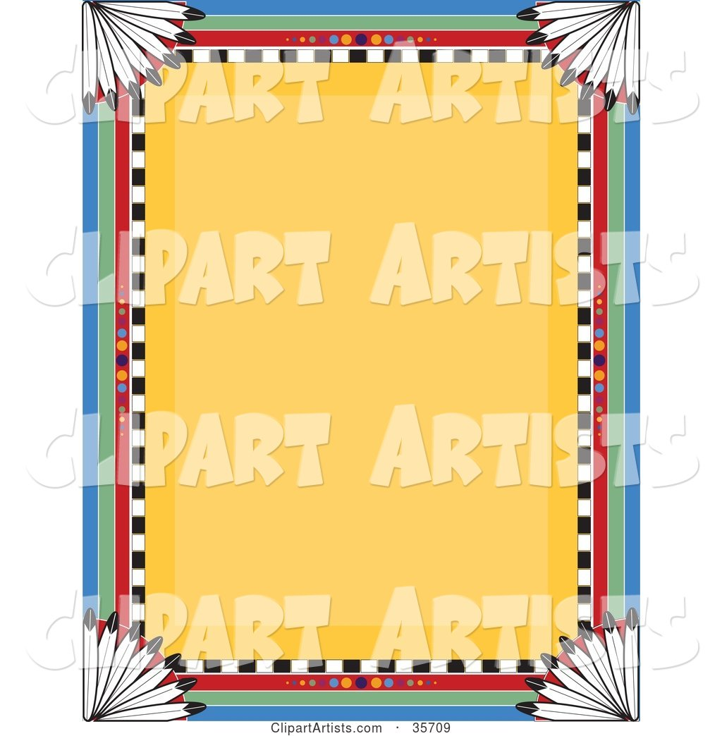 Native American Border over a Yellow Background with Feathers in the Corners