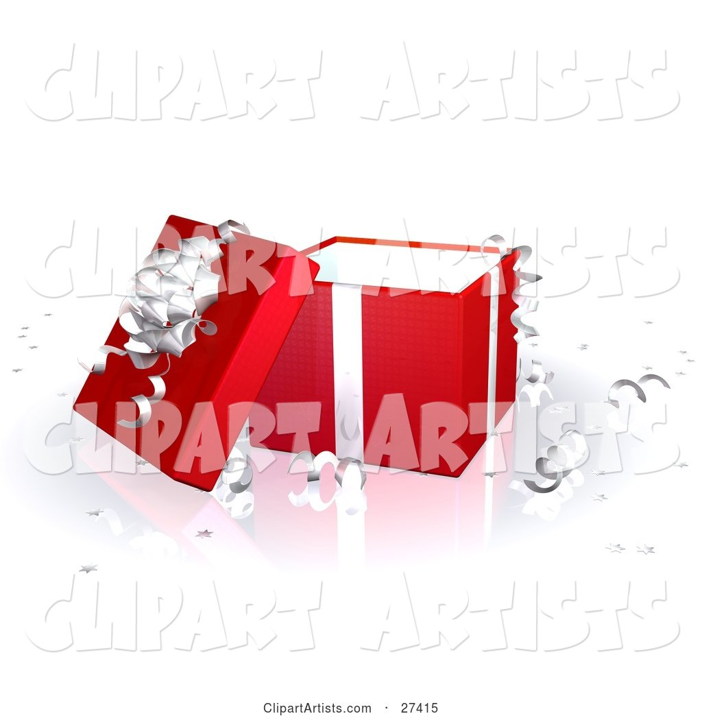 Open Red Gift Box with Silver Ribbons and a Bow