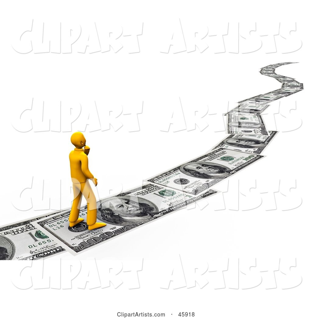 Orange Man Walking on a Path of Banknotes, Symbolizing Debt, Investing and Wealth