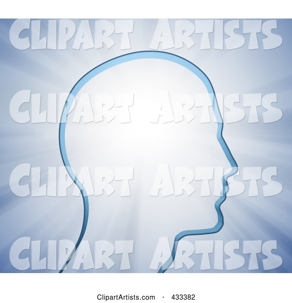 Outlined Blue Human Head in Profile over Blue Rays