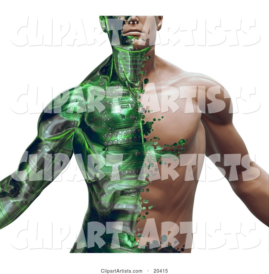 Part Man, Part Robot Muscular Guy with Green Circuits Covering His Skin