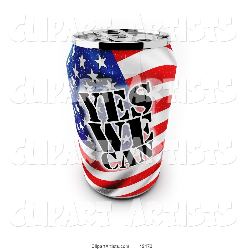 Patriotic Yes We Can Soda Can with an American Flag