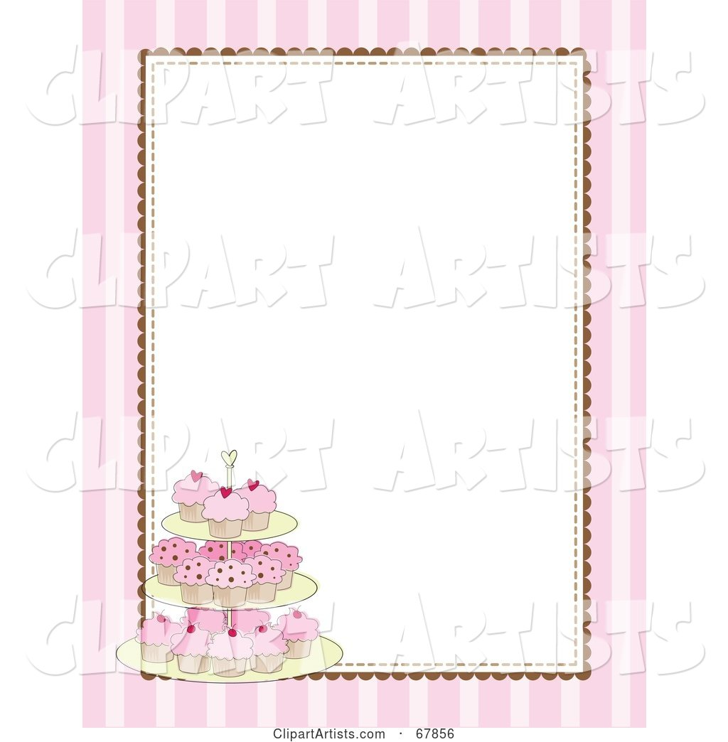 Pink Striped Cupcake Border with a White Background