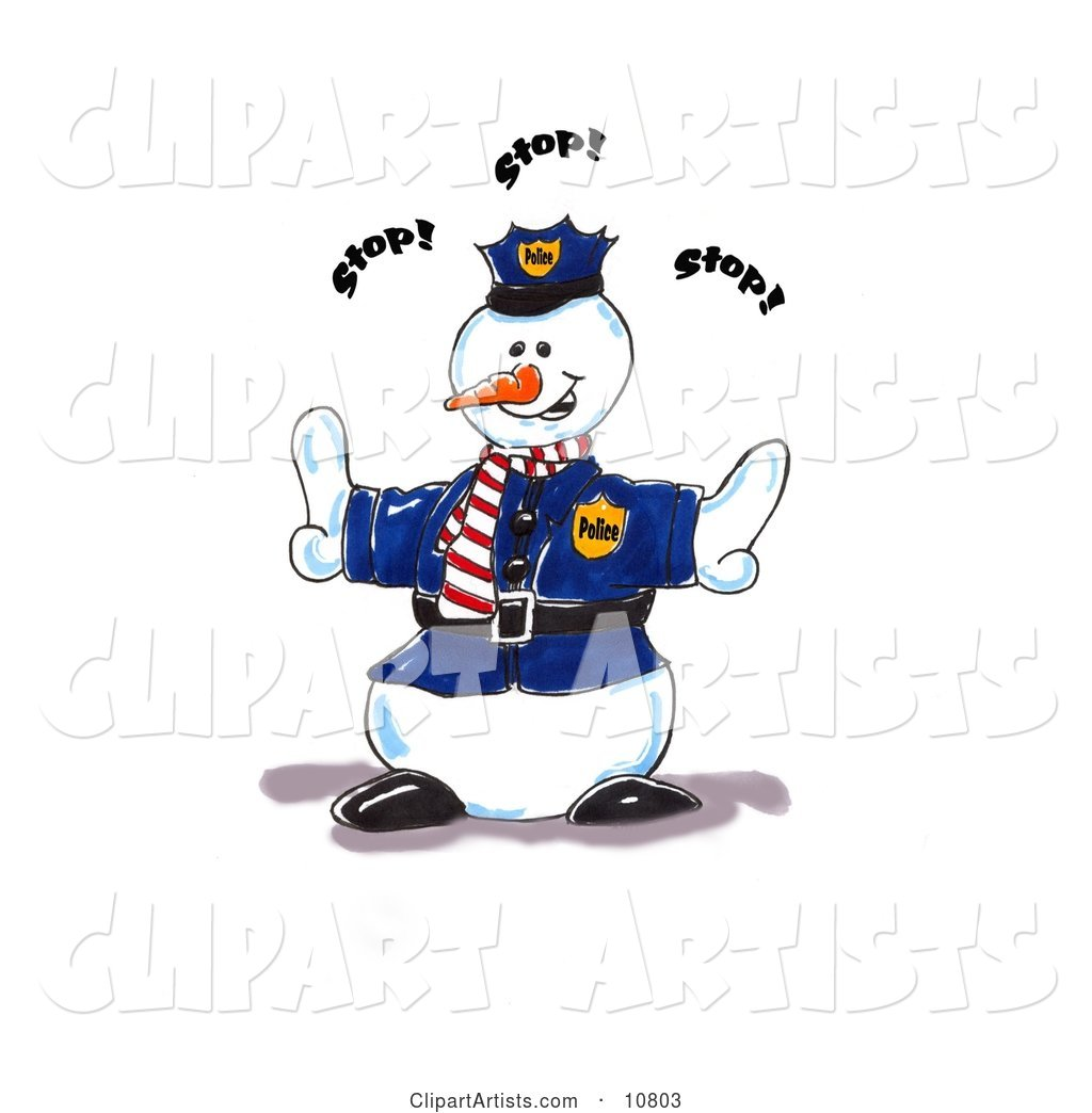 Police Snowman Directing People to Stop