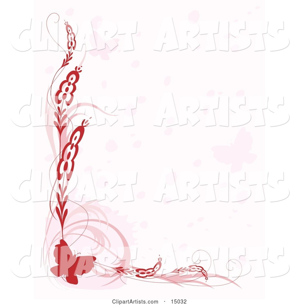 Pretty Red Butterfly Border with Plants and Faded Butterflies over White, Which Would Be Great for Stationery