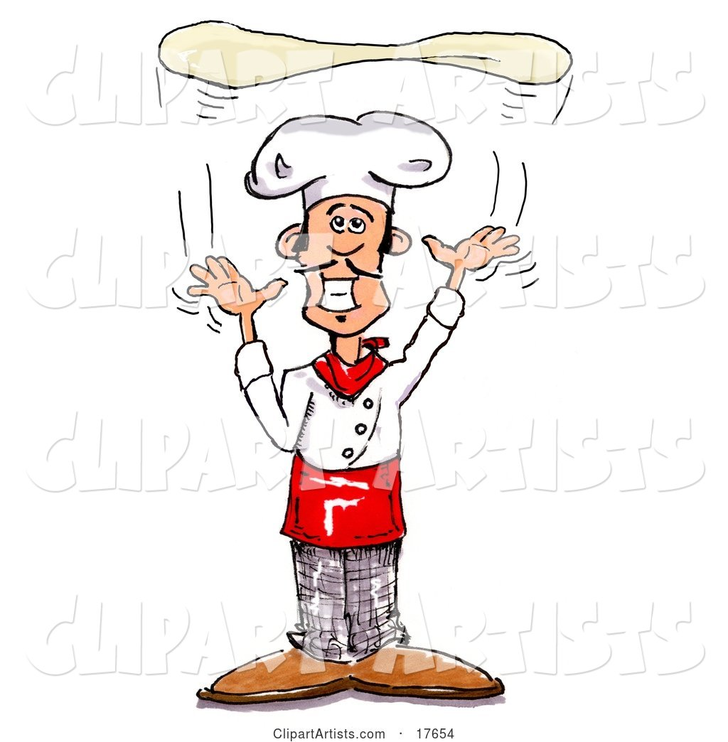 Proud Male Chef Hand Tossing Pizza Dough up into the Air While Cooking in a Pizzeria