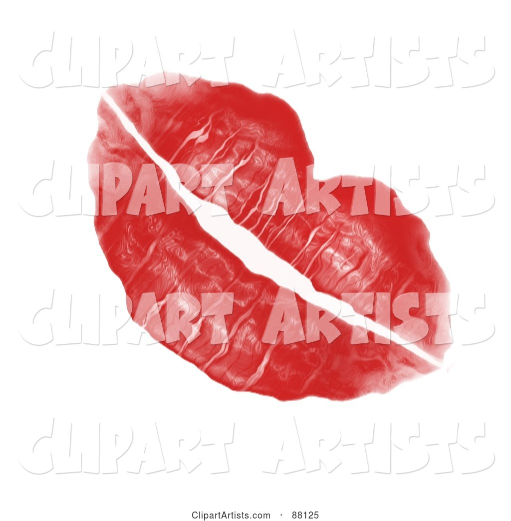 Red Lipstick Kiss Left by a Woman's Luscious Plump Lips