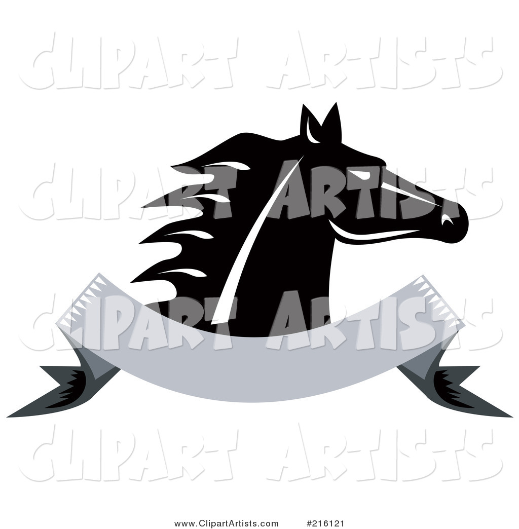 Retro Black and White Horse Head over a Blank Banner