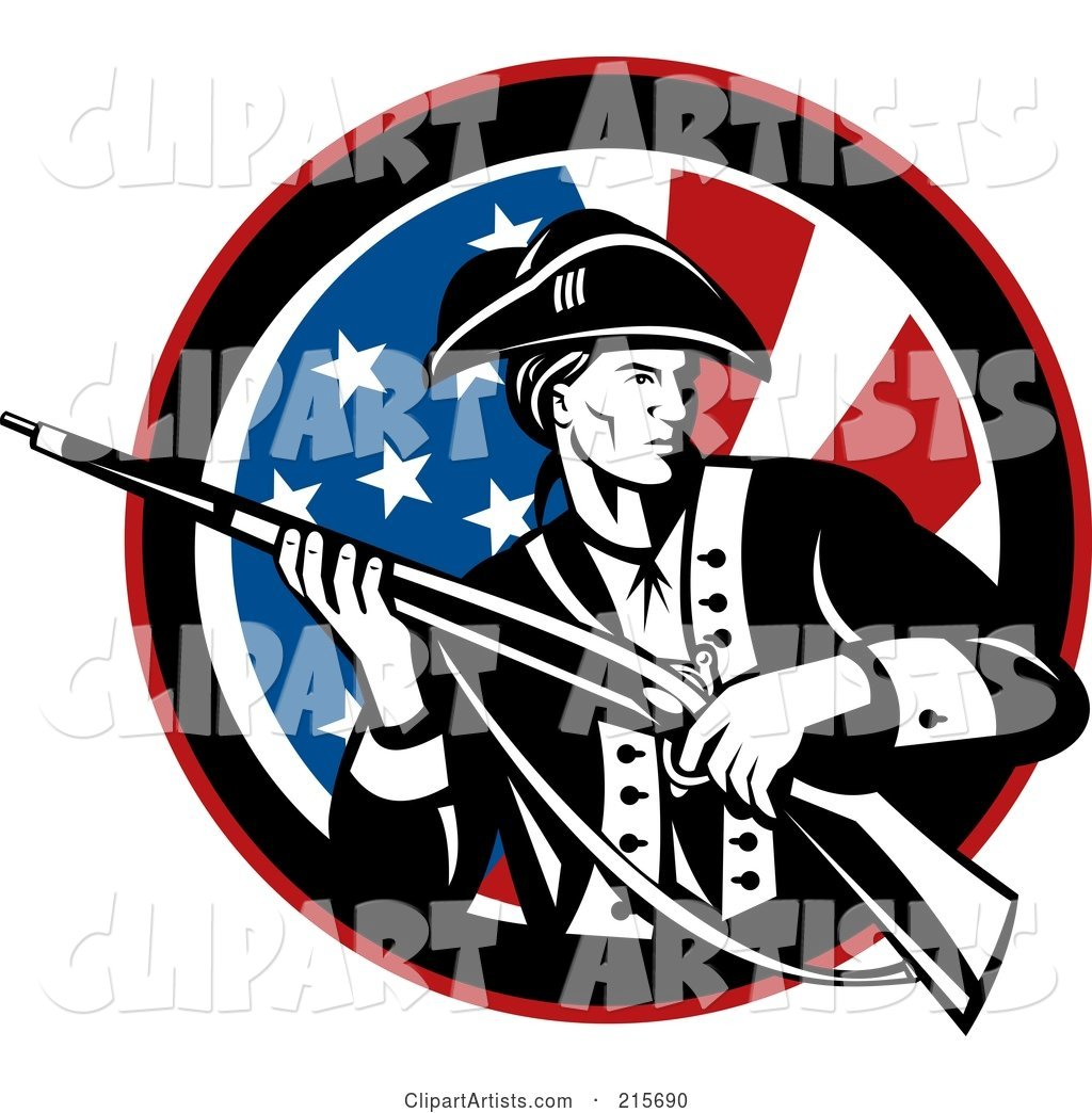 Revolutionary War Soldier Holding a Rifle over an American Flag Circle