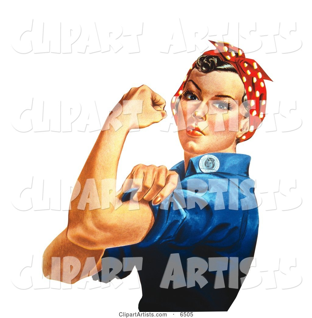 Rosie the Riveter Isolated on White, Facing Left