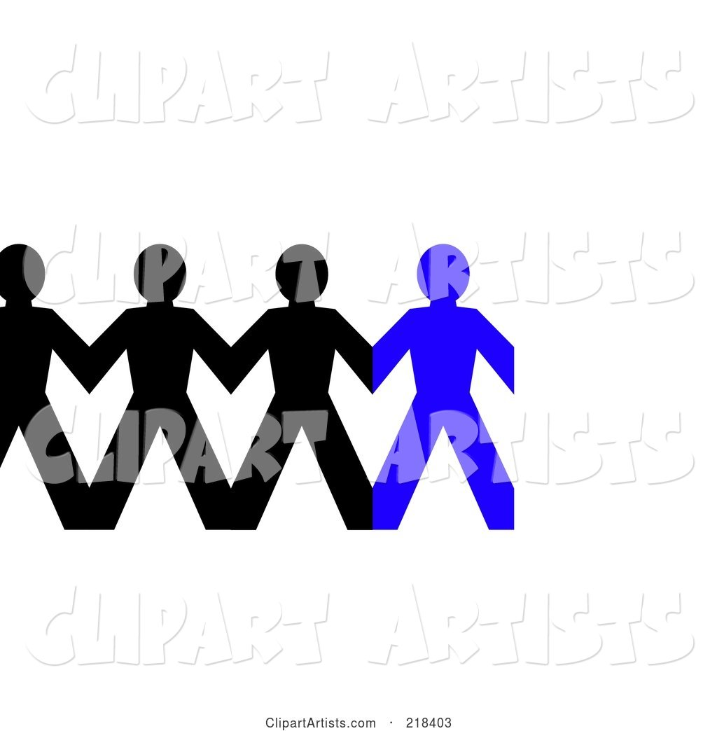 Row of Black and Blue Paper People Holding Hands