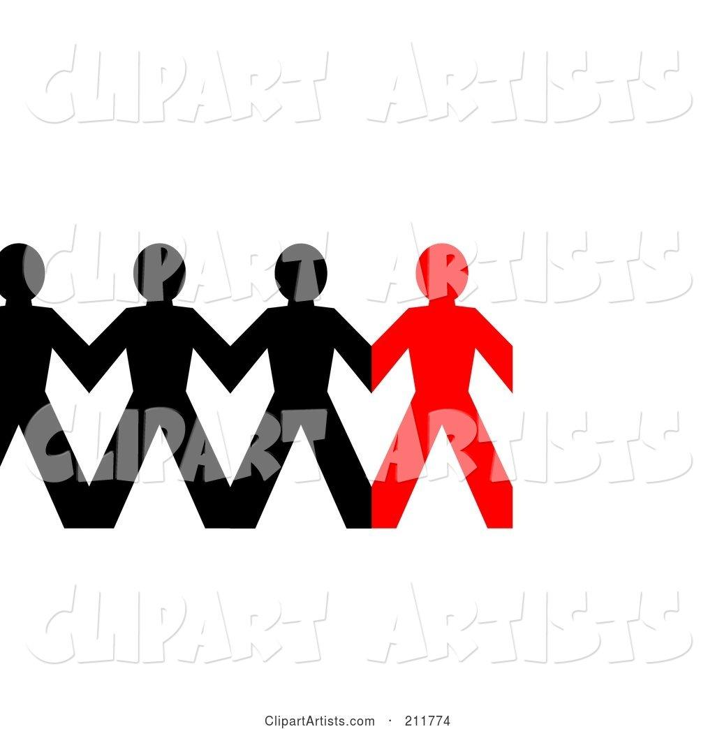 Row of Connected Black and Red Paper People