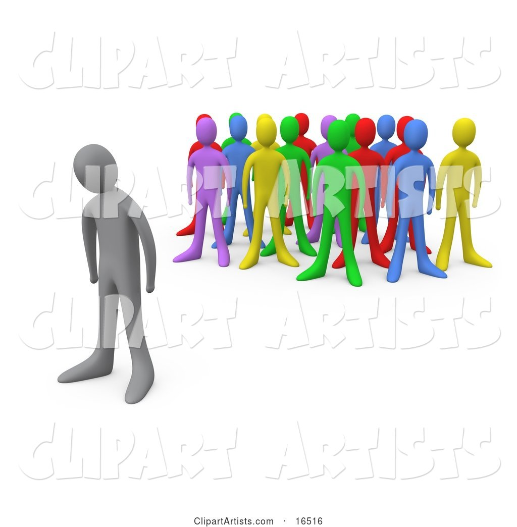Sad Gray Person Standing Alone near a Crowd of Different Colored People, Symbolizing Depression, Bullying, Standing out from the Crowd, Etc