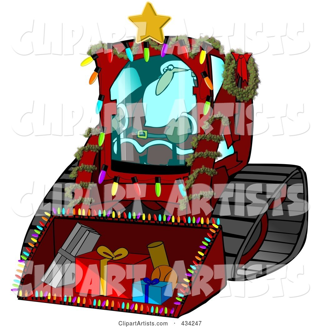 Santa Operating a Bobcat Machine with Gifts in the Bucket