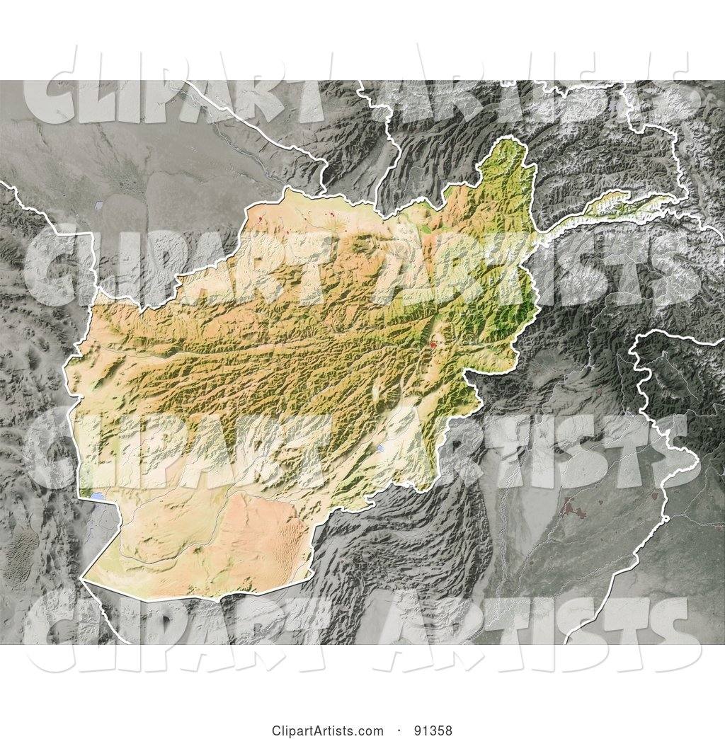 Shaded Relief Map of Afghanistan