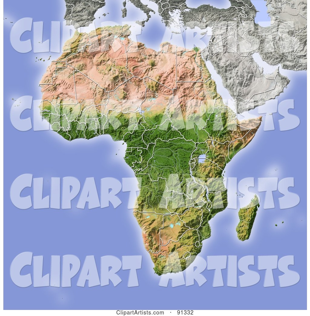 Shaded Relief Map of Africa