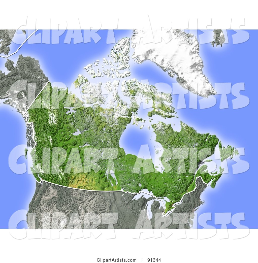 Shaded Relief Map of Canada