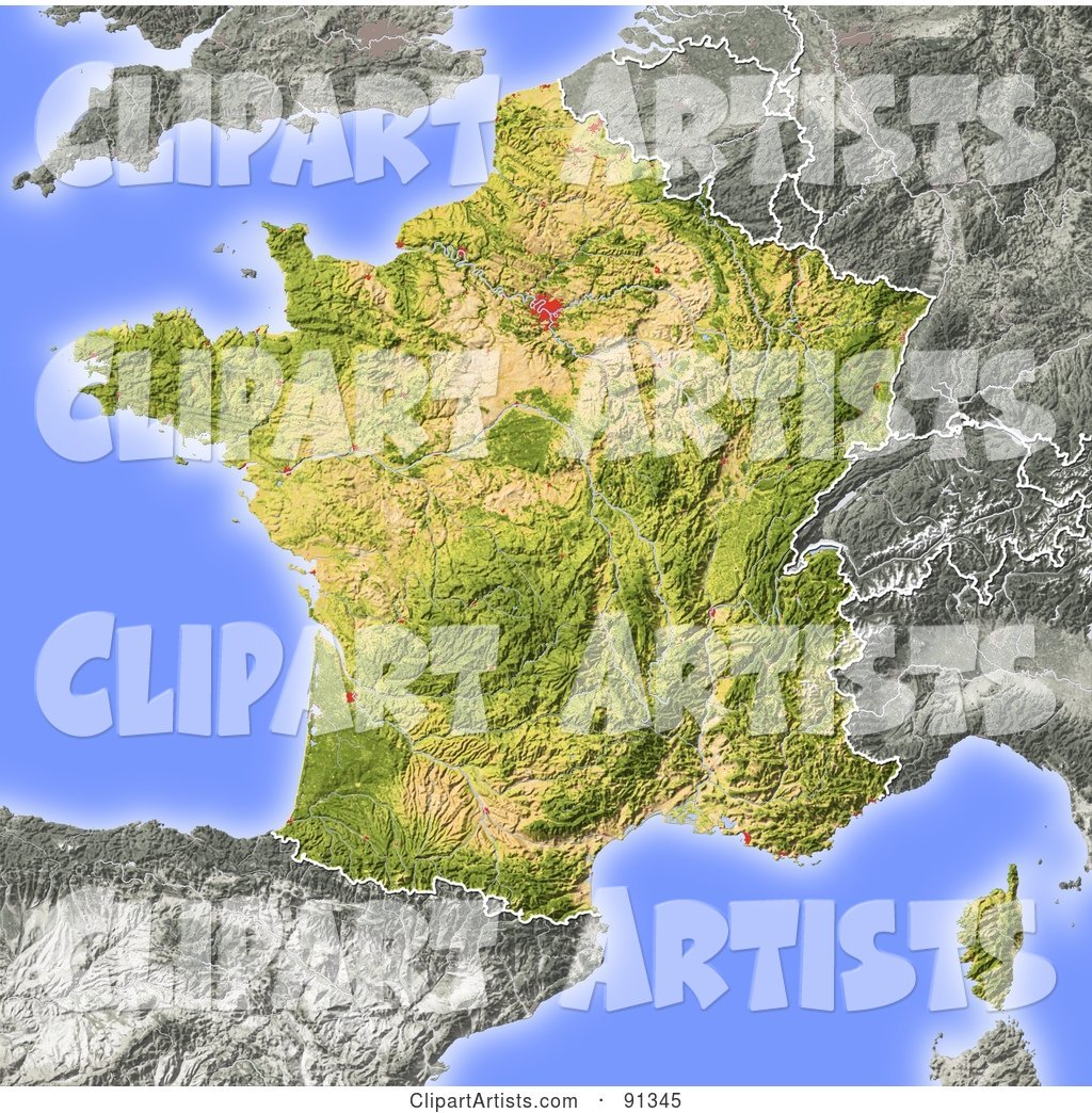 Shaded Relief Map of France