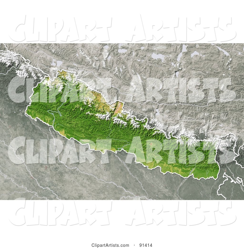 Shaded Relief Map of Nepal