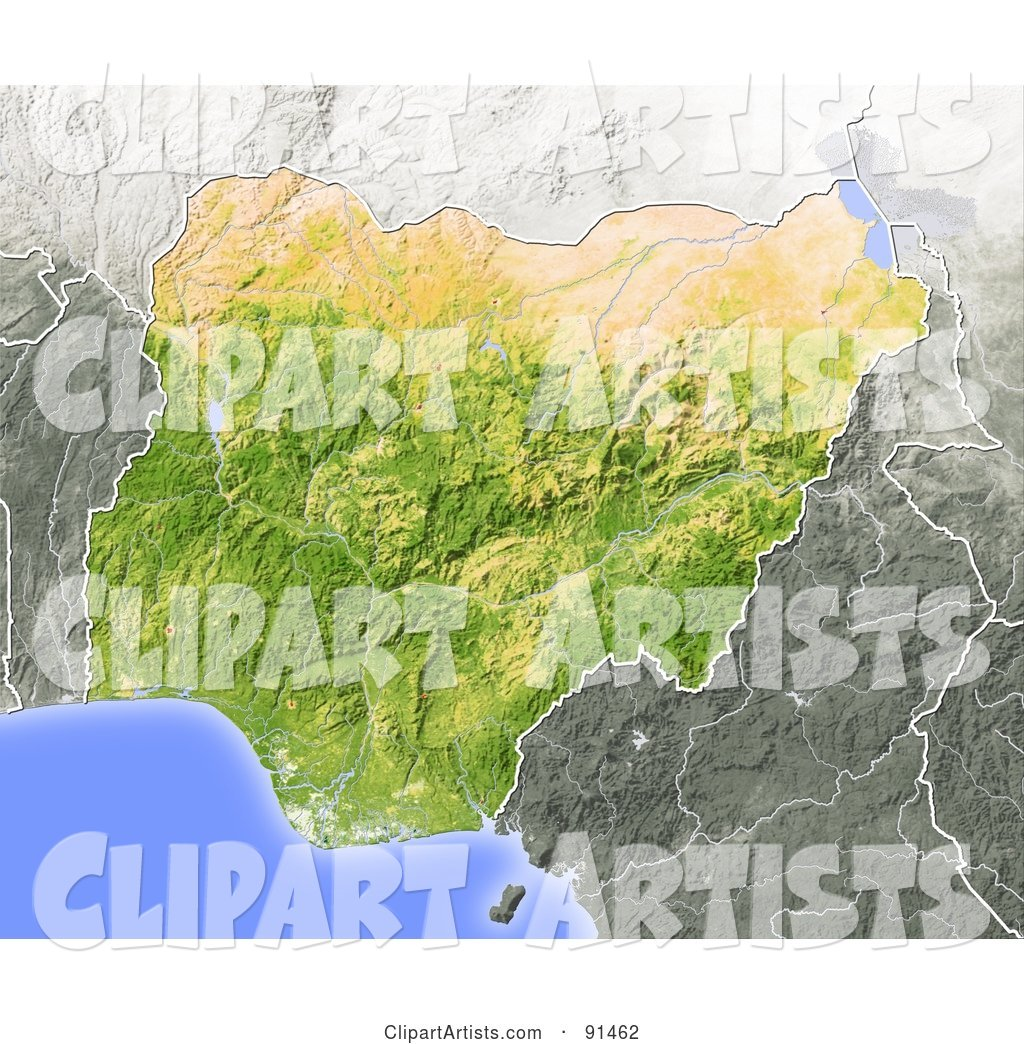 Shaded Relief Map of Nigeria