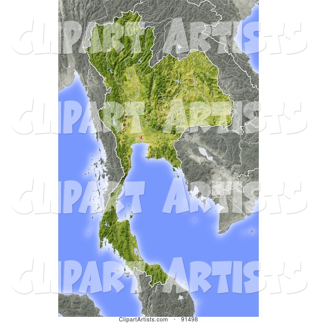 Shaded Relief Map of Thailand