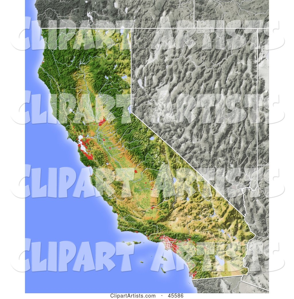 Shaded Relief Map of the State of California