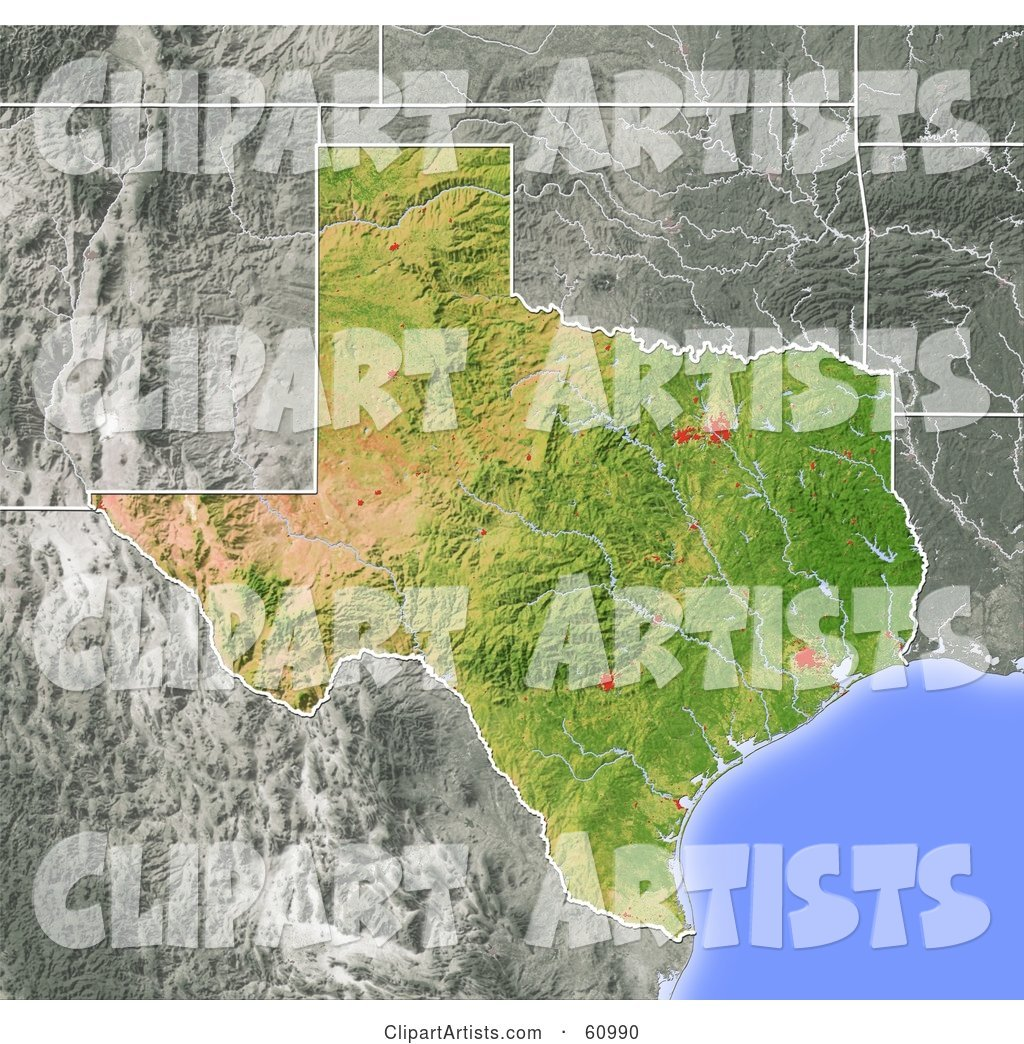 Shaded Relief Map of the State of Texas