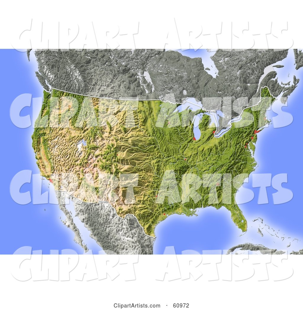 Shaded Relief Map of the United States