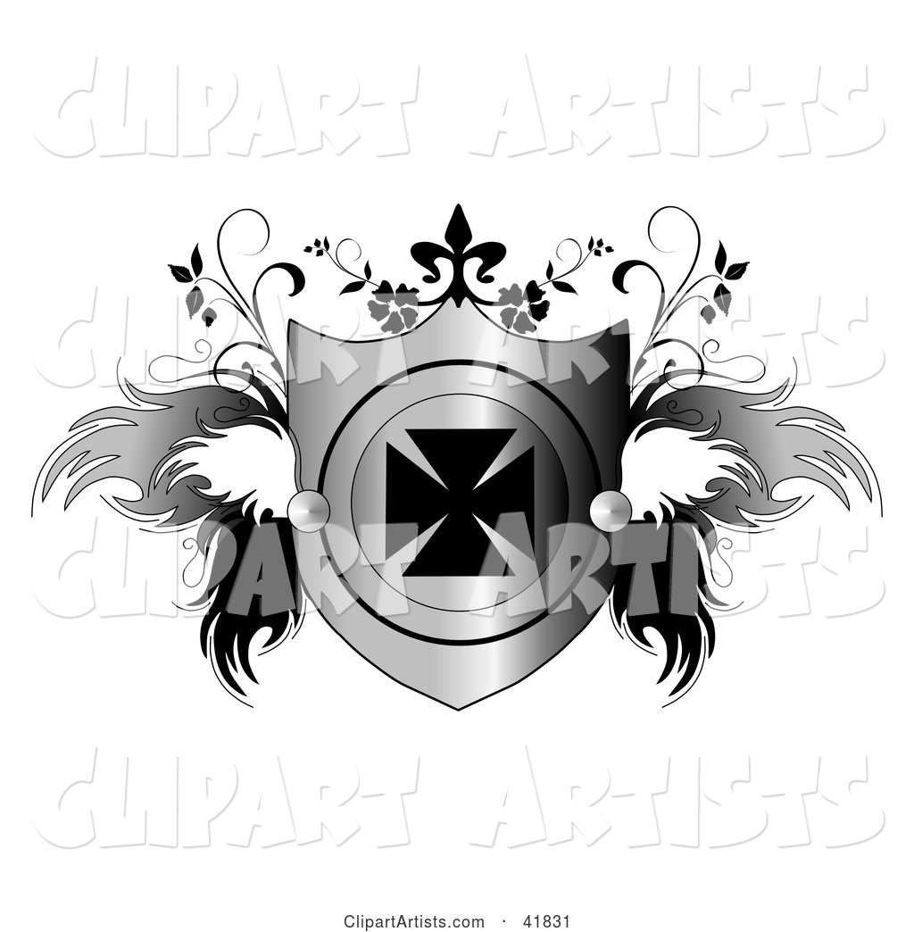 Shiny Heraldic Shield with an Iron Cross and Feathery Wings and Vines