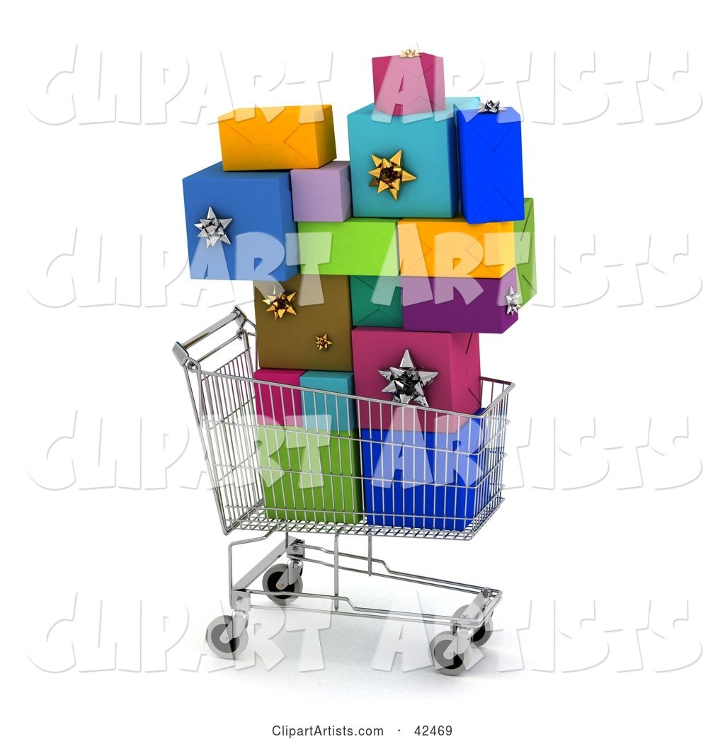 Shopping Cart Carrying a Stack of Colorful Gifts