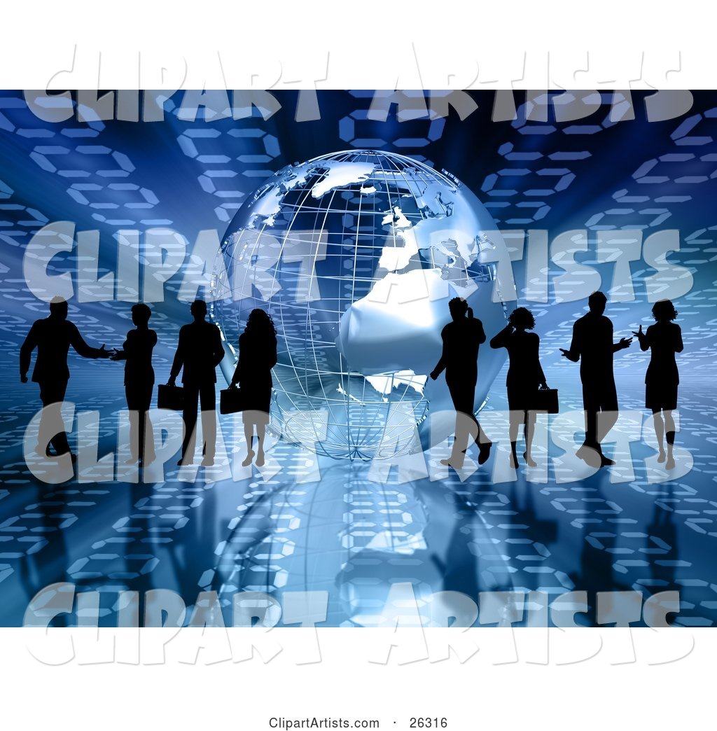 Silhouetted Businesspeople Talking to Others or on Cell Phones near a Silver Wire Frame Globe on a Blue Binary Background