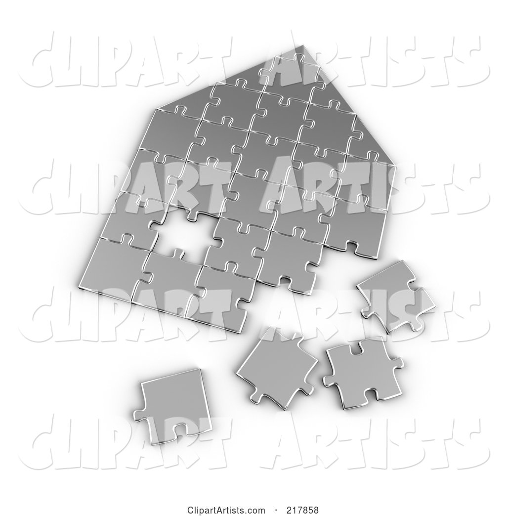 Silver Incomplete House Shaped Puzzle
