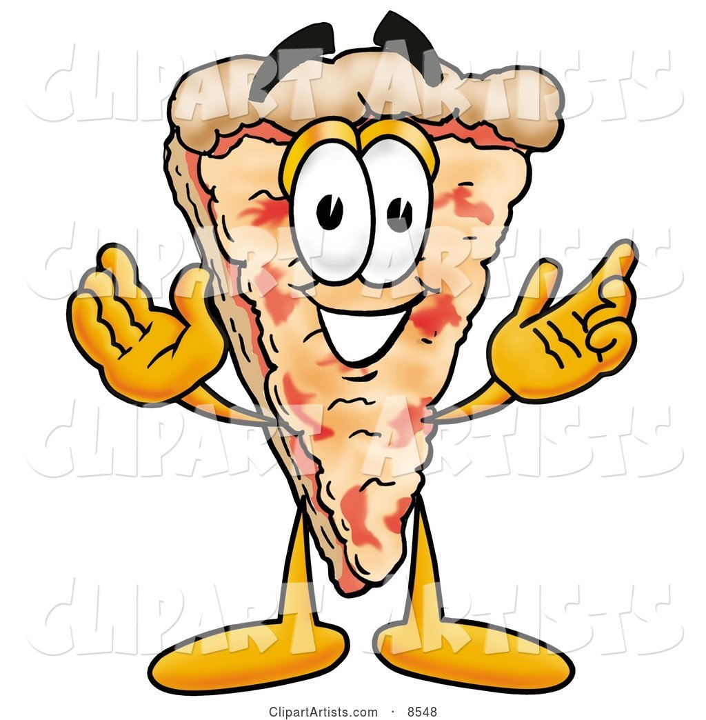 Slice of Pizza Mascot Cartoon Character with Welcoming Open Arms