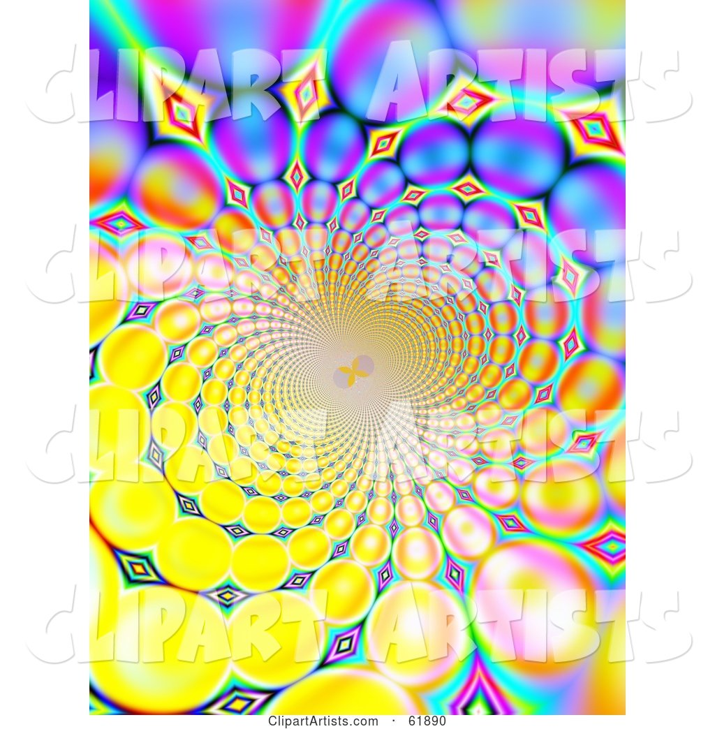 Spiraling Funky Background of Colorful Fractals on Yellow
