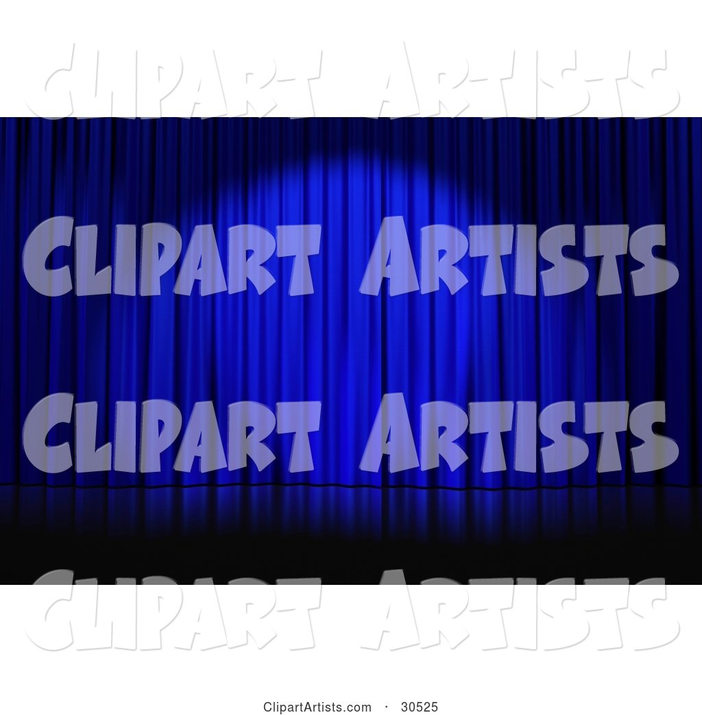 Spotlight Cast on Closed Blue Curtains on an Empty Stage
