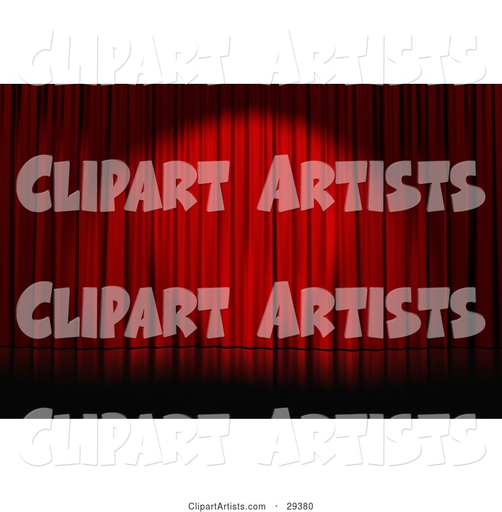 Spotlight Cast on Closed Red Curtains on an Empty Stage