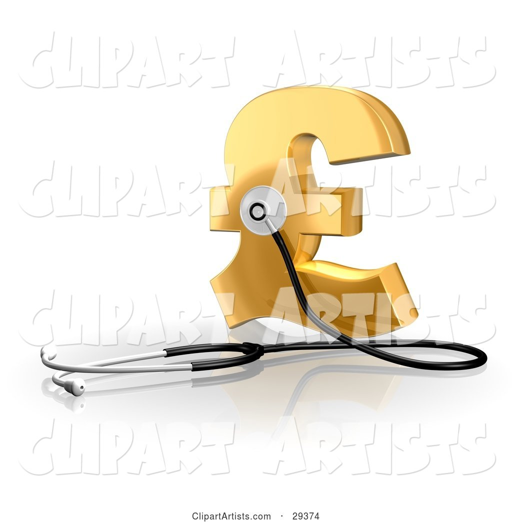Stethoscope up Against a Golden Pound Sterling Sign, Symbolizing Economy, Debt and Savings