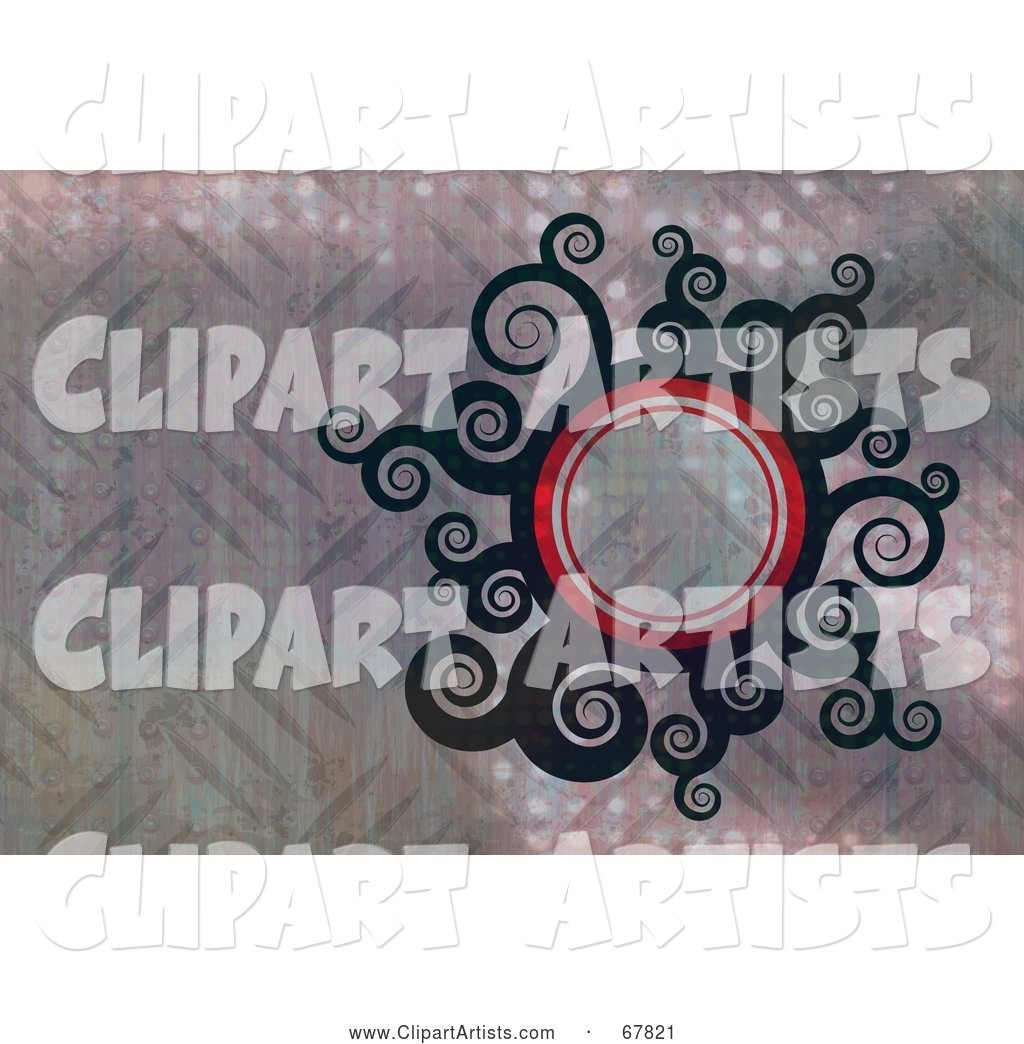 Swirly Circle Sun over Diamond Plate Metal