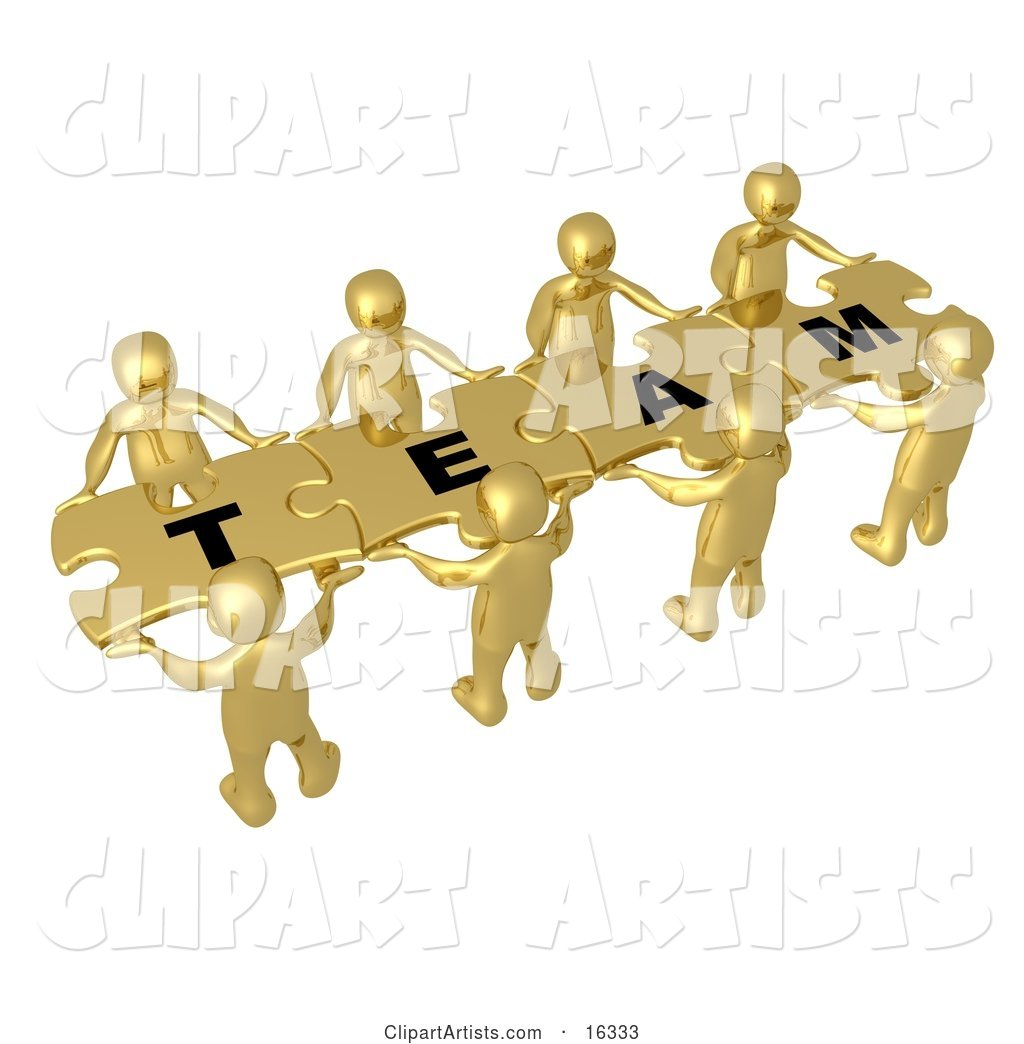 "Team of 8 Gold People Holding up Connected Pieces to a Colorful Puzzle That Spells out ""Team,"" Symbolizing Excellent Teamwork, Success and Link Exchanging"