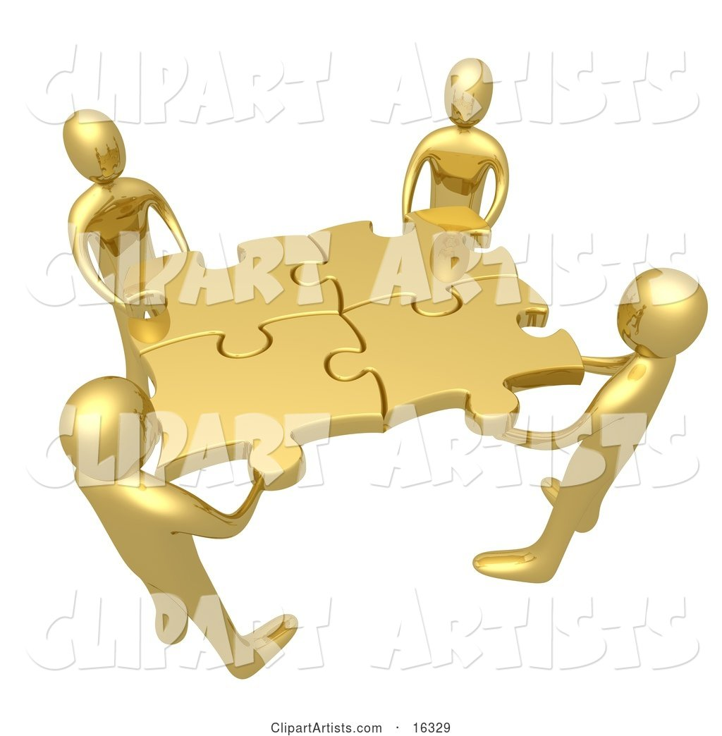 Team of Four Golden People Holding up Connected Pieces to a Gold Puzzle, Symbolizing Excellent Teamwork, Success and Link Exchanging