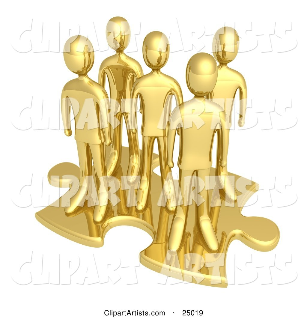 Team of Gold People Standing on Top of a Jigsaw Puzzle Piece, Symbolizing Teamwork, Solutions and Challenges