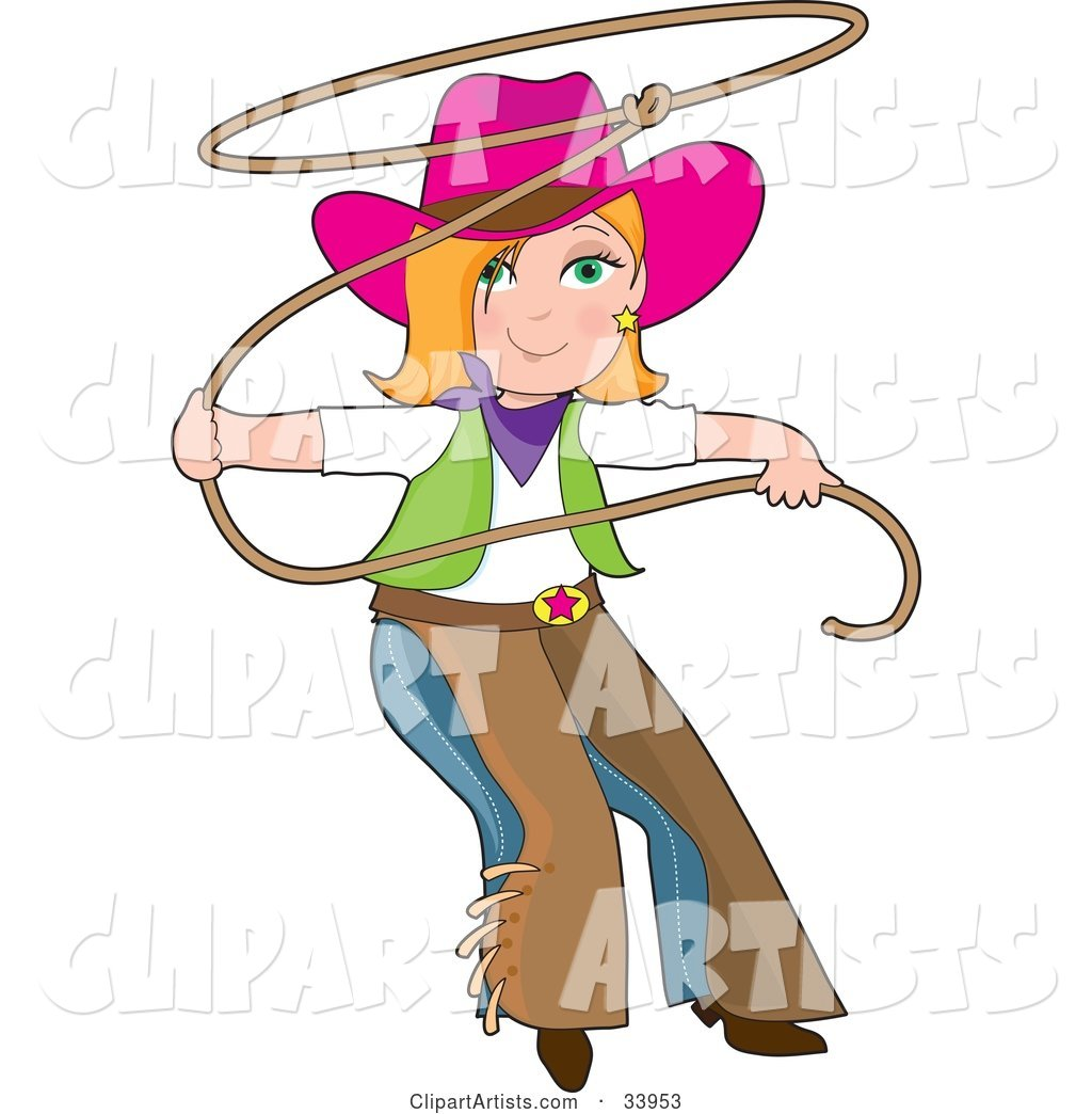 Teenage Cowgirl in Chaps and a Pink Hat, Swinging a Lasso