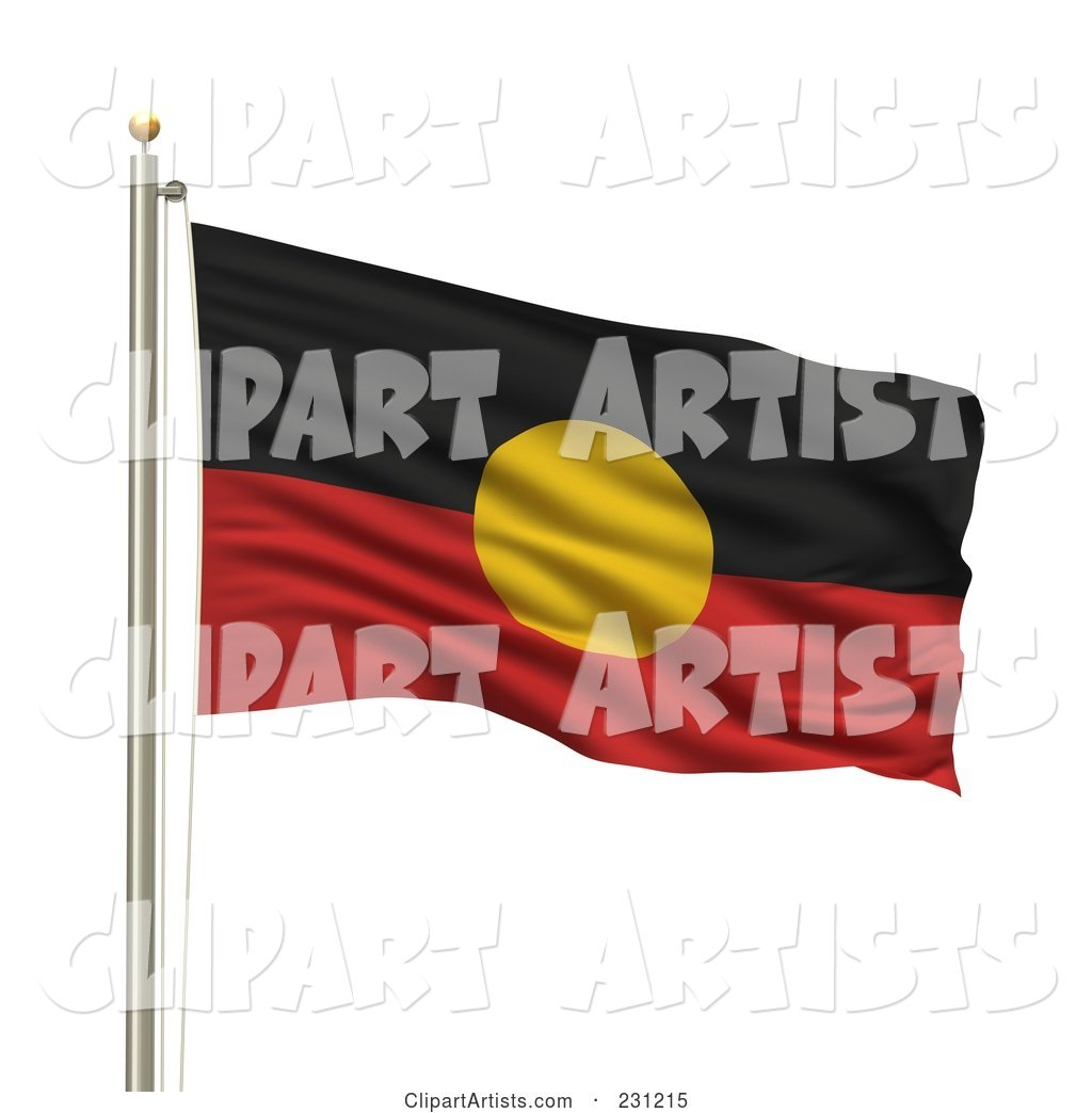 The Aboriginal Flag Waving on a Pole