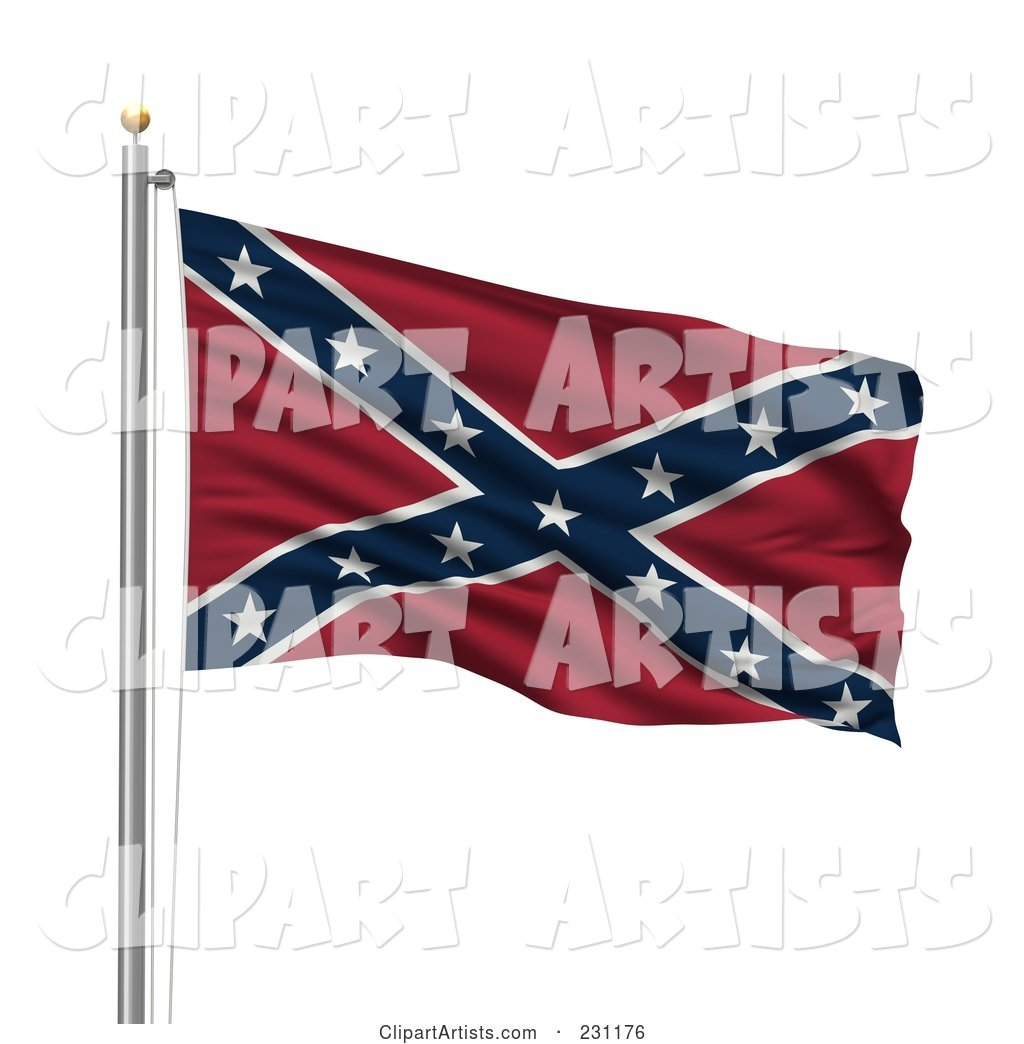 The Confederate Flag Waving on a Pole
