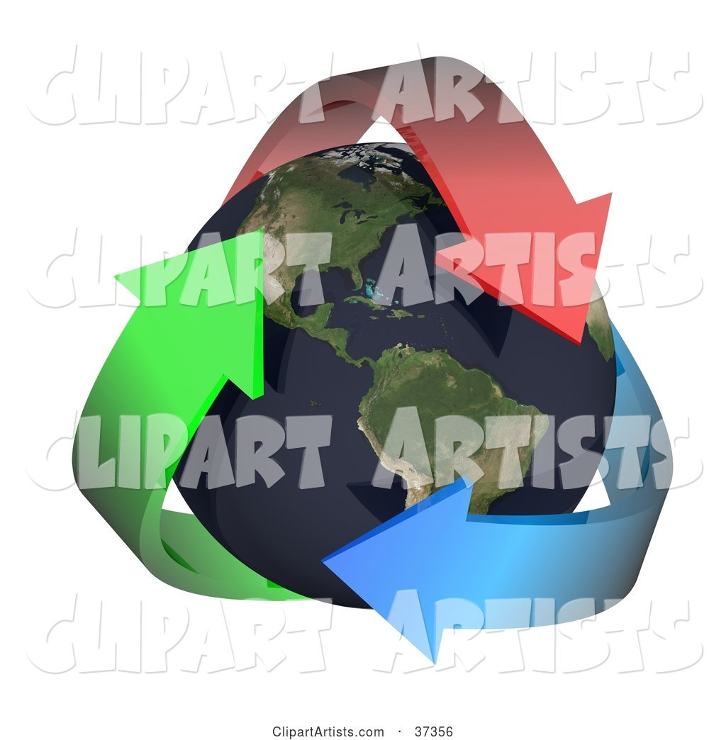 Three Colorful Arrows Embracing Earth, with the Americas Featured